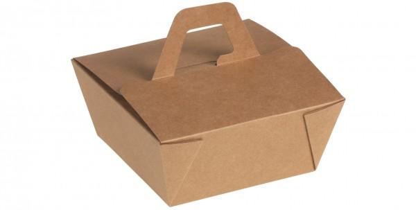 Take away Box mit PLA-Beschichtung braun/weiß mit Henkel 500 ml